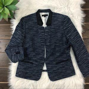 [Ann Taylor] Tweed Blazer Navy Vegan Leather Trim
